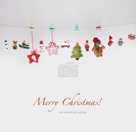 Christmas toys garland background