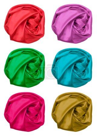 juego de colores de tela de seda arrugada