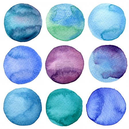 Photo for Watercolor hand painted circles collection - Royalty Free Image