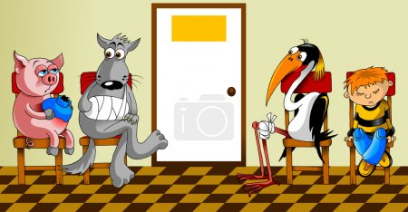 Illustration for Sick animals and sitting in the waiting room at the doctor (illustration); - Royalty Free Image