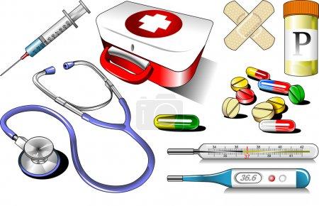 Illustration pour Matériel médical sur fond blanc (illustration - vecteur ); - image libre de droit