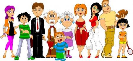 Illustration pour Grande famille heureuse réunie pour des vacances en famille - image libre de droit