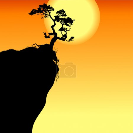 Illustration for Hi single lonely tree on a precipice, vector-illustration - Royalty Free Image