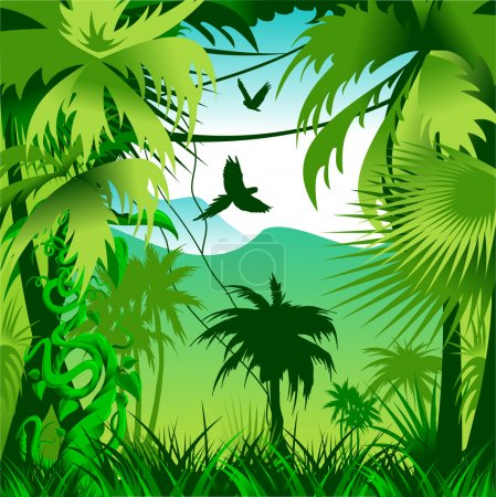 Illustration for Coniferous green forest with natural light. Vector-illustration - Royalty Free Image
