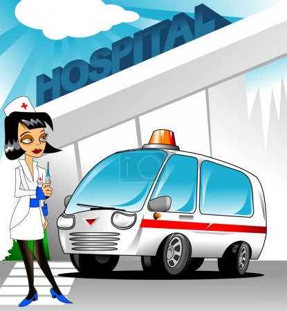 Illustration for Beautiful nurse standing beside the car ambulance, vector - Royalty Free Image