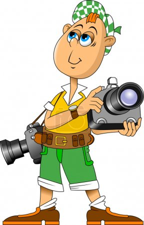 Illustration for Vector illustration of funny photographer speaking, vector and illustration - Royalty Free Image