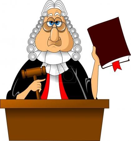 Illustration pour Juge en colère avec marteau rend un verdict pour la loi, vecteur - image libre de droit