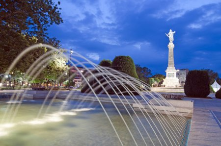 Photo for Liberty statue in park in Ruse, Bulgaria, by night - Royalty Free Image