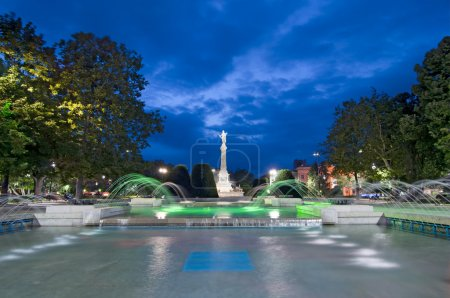Photo for Ruse, Bulgaria - the Monument of Liberty was built around 1909 by the Italian sculptor Arnoldo Zocchi, in city park with fountains around - Royalty Free Image