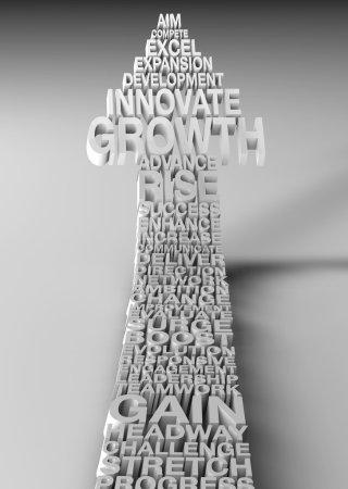 Photo pour Métaphore d'affaires avec les principaux Mots clés de la croissance et la réalisation - image libre de droit