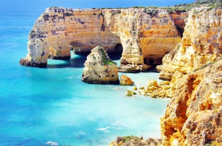 Marinha Beach,  located on the Atlantic coast in Portugal,Algar