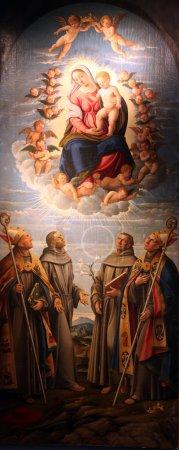 Photo pour Vierge à l'Enfant dans la gloire du ciel avec saint Bonaventure, saint François d'Assise, saint Antoine de Padoue et saint Louis - image libre de droit