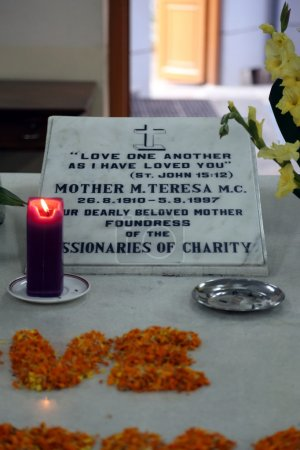 Tomb of Mother Teresa, decorated with fresh flowers in Kolkata, West Bengal, India