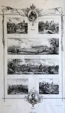 Photo for An engraved vintage illustration image of Napoleon Bonaparte in various battles that led now exhibited in the Villa dei Mulini, Portoferraio, Italy - Royalty Free Image
