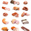 Meat and sausage collection isolated on white back...