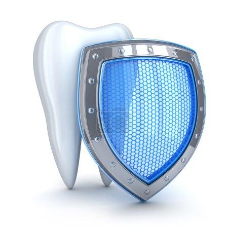 Photo pour Coquille de dent et bleu (fait en 3d, isolé) - image libre de droit