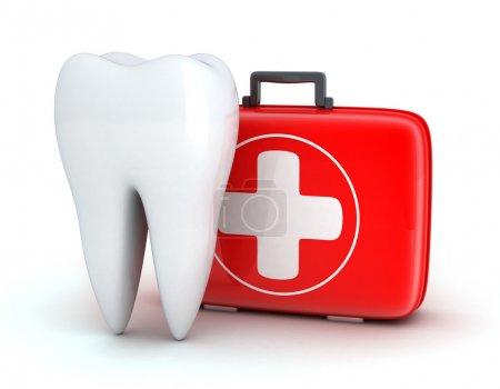 Photo pour Dent et coffre de médecine sur fond blanc (fait en 3d ) - image libre de droit