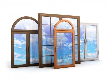 Photo pour Fenêtre avec reflets du ciel (fait en 3d ) - image libre de droit