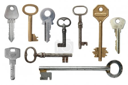Photo for Keys from door locks on a white background. - Royalty Free Image