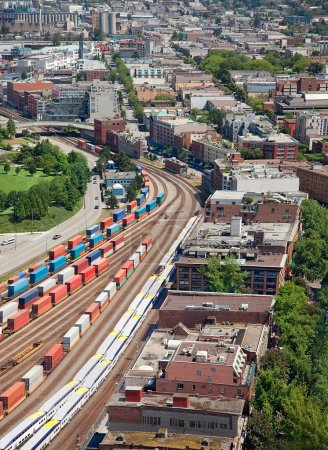 Commercial railway in downtown Vancouver, British ...