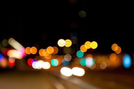 Photo for City lights defocused, abstract night scene - Royalty Free Image