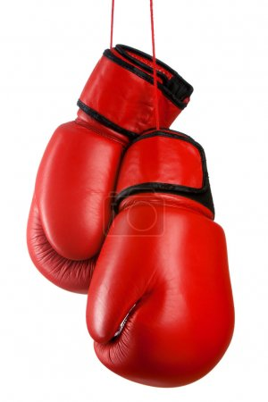Photo for Pair of red leather boxing gloves isolated on white background - Royalty Free Image