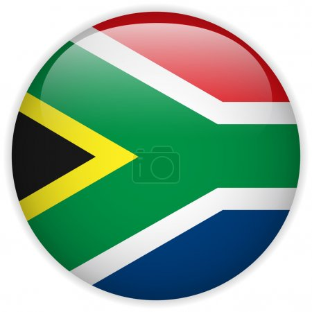 Vector - South Africa Flag Glossy Button...