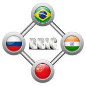 BRIC země tlačítka Brazílie Rusko Indie Čína