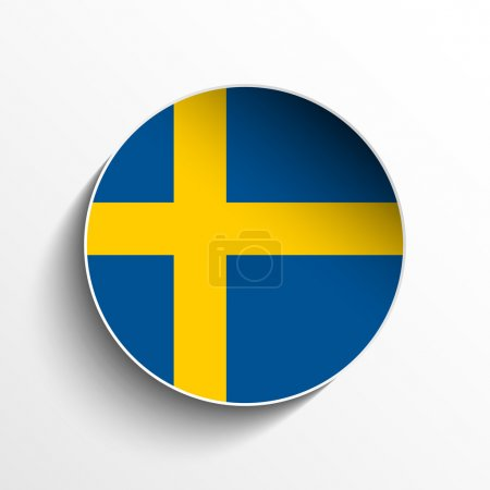 Illustration for Vector - Flag Paper Circle Shadow Button Sweden - Royalty Free Image