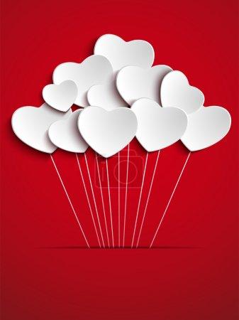 Illustration pour Vector - Valentines Fête des ballons cardiaques sur fond rouge - image libre de droit