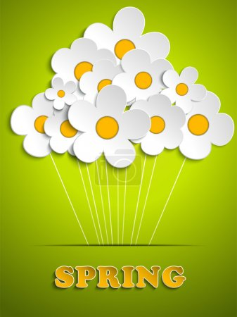 Illustration for Vector - Beautiful Spring White Flowers Background - Royalty Free Image