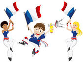 France Sport Fan with Flag and Horn