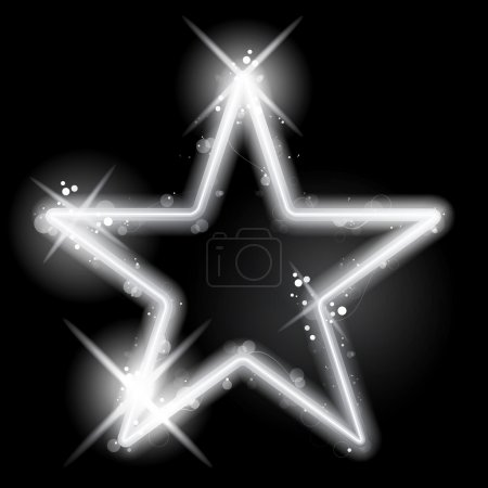 Illustration for Vector - Silver Star Glowing on Black Background Christmas - Royalty Free Image