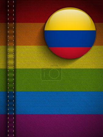 Illustration for Vector - Gay Flag Button on Jeans Fabric Texture Colombia - Royalty Free Image