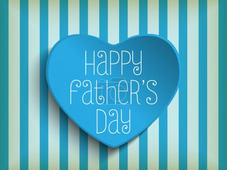 Illustration for Vector - Happy Fathers Day Blue Heart Background - Royalty Free Image