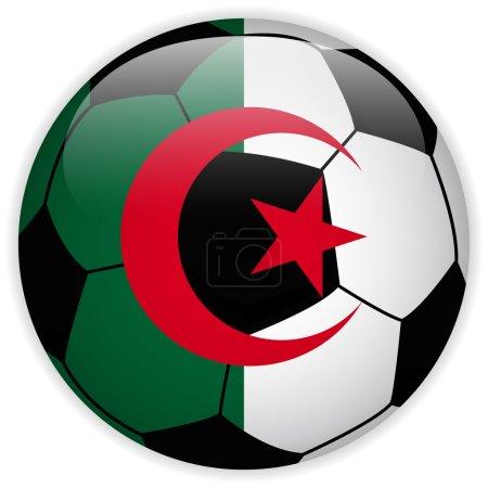 Algeria Flag with Soccer Ball Background