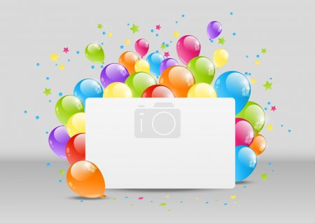 Illustration for Happy Birthday background with banner and balloon - Royalty Free Image