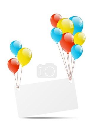 Illustration pour Fond de joyeux anniversaire avec ballon et bannière - image libre de droit