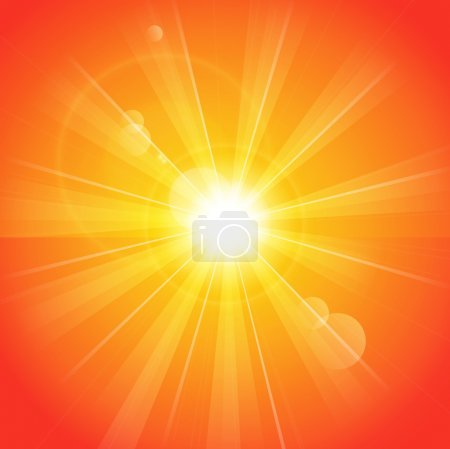 Illustration for Orange sunny rays light background - Royalty Free Image