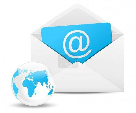 Illustration pour Enveloppe avec planète Terre - concept de courriel - image libre de droit