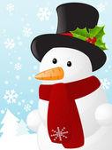Christmas card with cute snowman