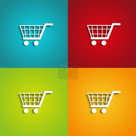 Illustration for Set of shopping carts on color backgrounds - Royalty Free Image