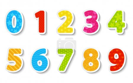 Illustration for Set of color paper numbers - Royalty Free Image
