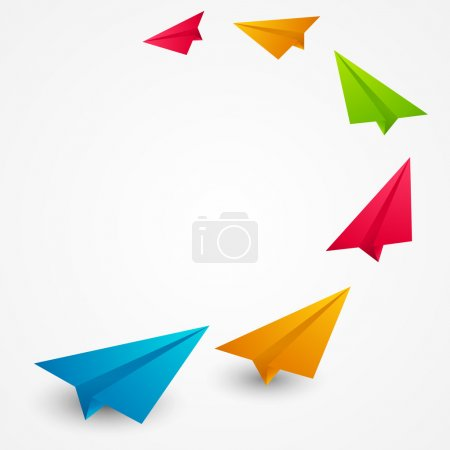 Color paper airplanes - vector illustration