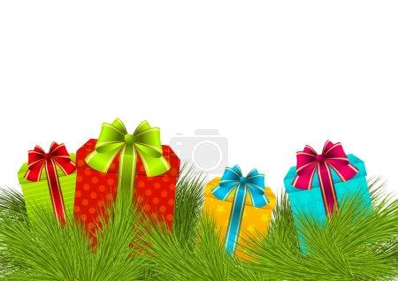 Illustration pour Cadeaux de Noël sur branches de pin - image libre de droit