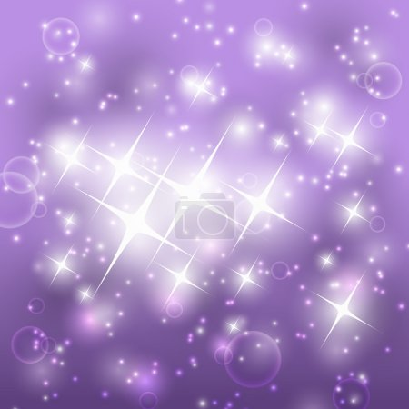 Illustration for Shiny purple background with stars - Royalty Free Image