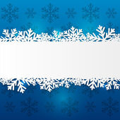 Paper snowflake border on blue