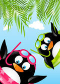 Funny swimming penguins