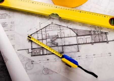 Photo for House blue print close up - Royalty Free Image