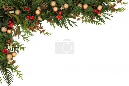 Photo pour Bordure saisonnière de Noël de houx, lierre, gui, branches de feuilles de cèdre avec cônes de pin et boules d'or sur fond blanc . - image libre de droit